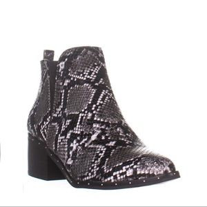 Bar III Black & White Faux Snakeskin Bootie